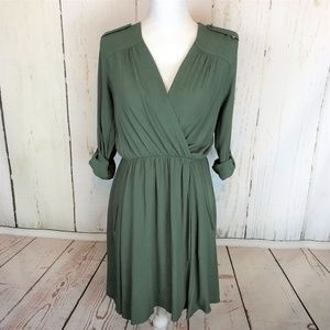 Anthropologie Maeve Lene Crepe Faux Wrap Dress